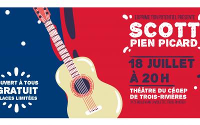 Spectacle de l'auteur-compositeur Scott-Pien Picard  au Théâtre du Cégep de Trois-Rivières